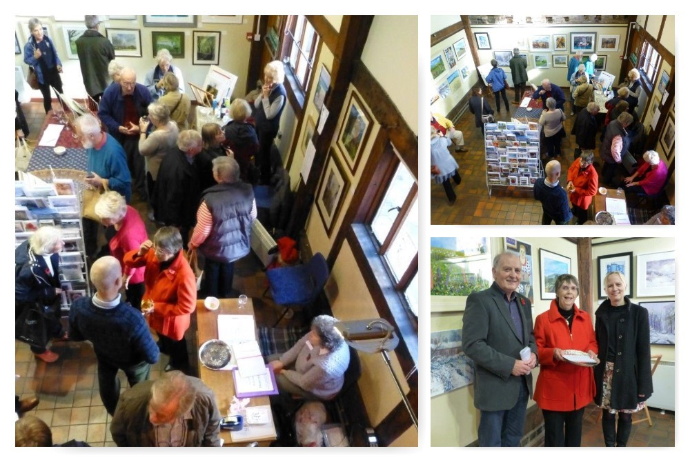 Collage of SAS Autumn Exhibition 2015 with Sheila Sharpe receiving her award
