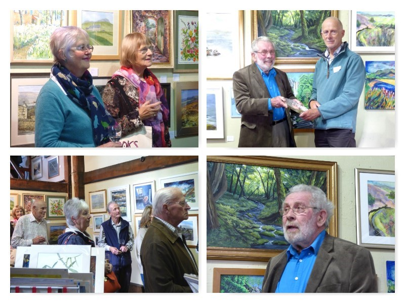 Collage of Autumn Exhibition 2016 Social, with John Willetts receiving his award from Jim Davies