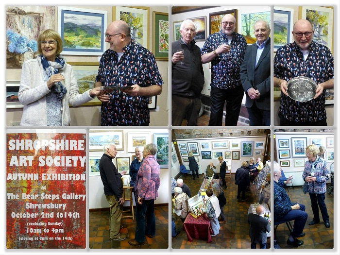 Collage of SAS Autumn Exhibition 2017 Social, with Frank Hilton receiving his award