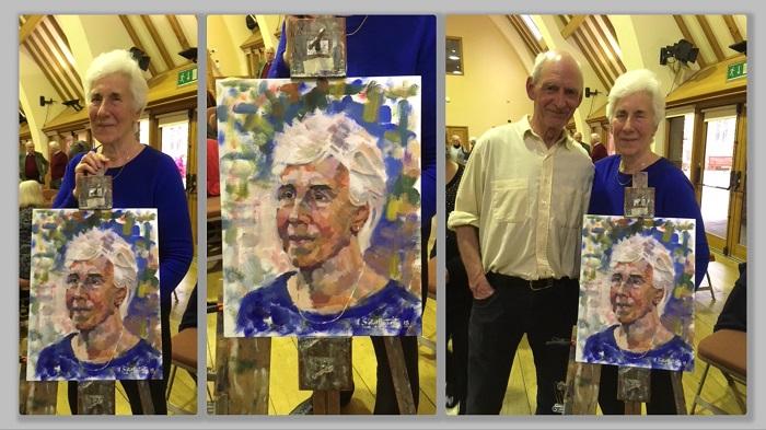 Collage of Ron Sattherthwaite's 2018 portrait demo for the SAS